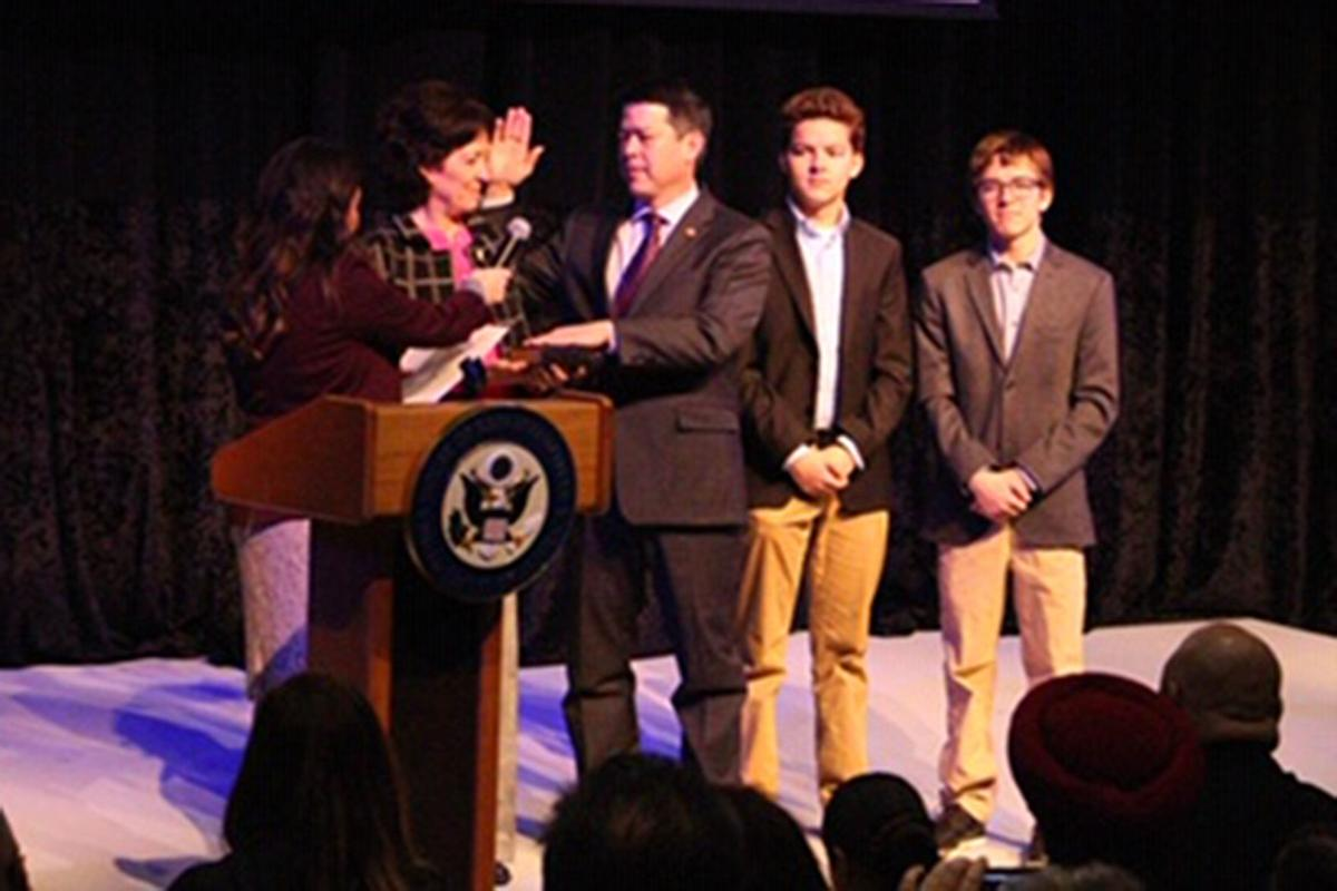 Cox sworn in: Ceremony