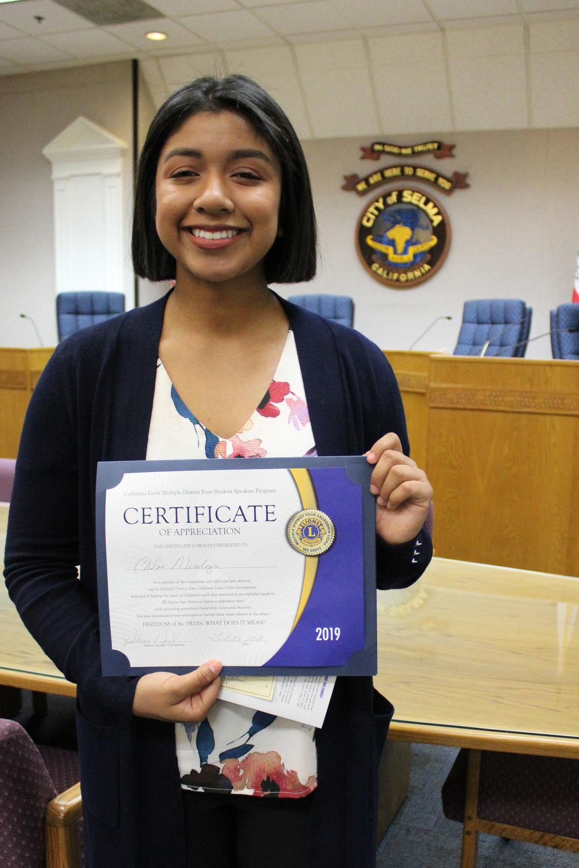 Selma student: Chloe Mendoza
