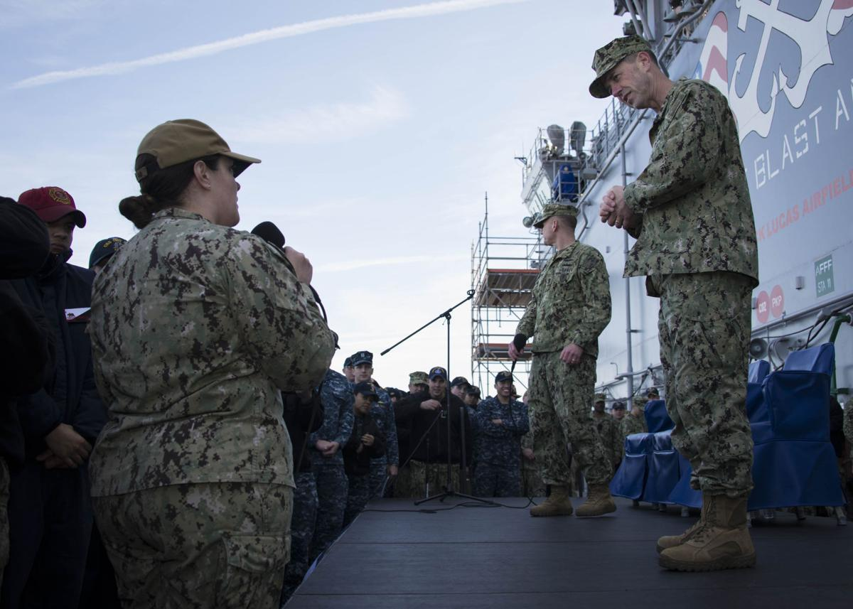 CNO, MCPON hold Mayport All-Hands Call aboard USS Iwo Jima