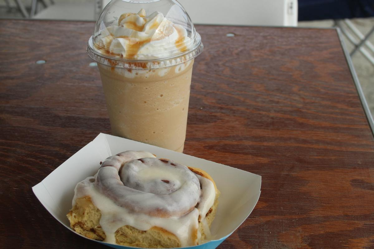 Blended coffee and a cinnamon roll