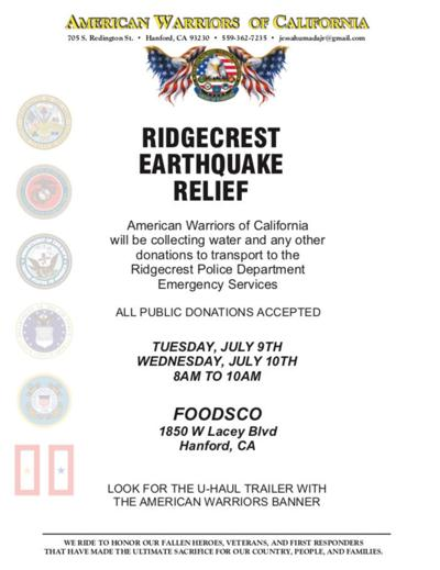 Earthquake Relief for Ridgecrest