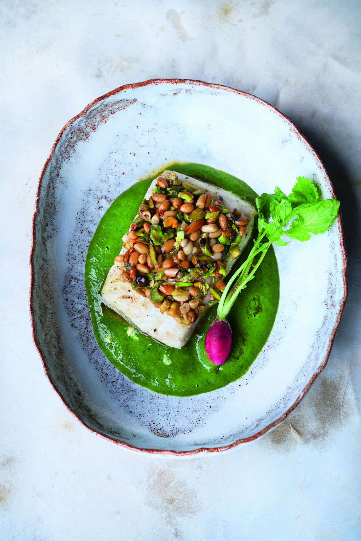 Pistachio and pine nut-crusted halibut with wild arugula and parsley vichyssoise