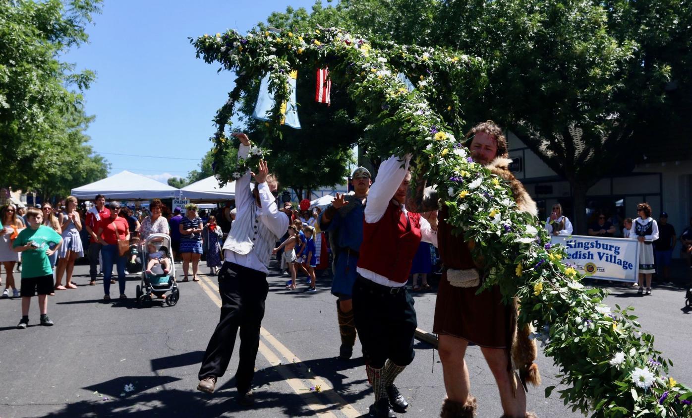 swedish festival may pole goes up