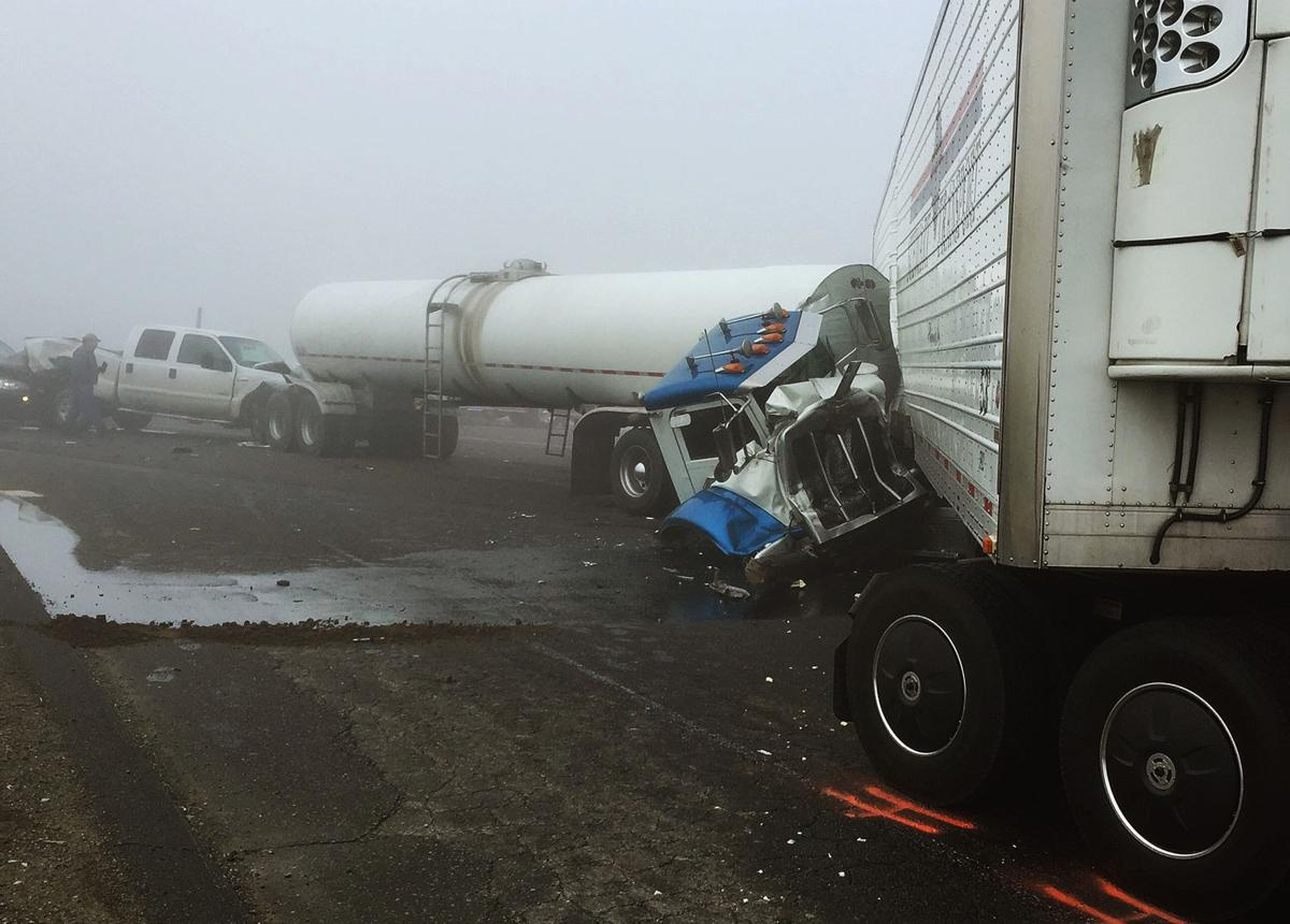Accidents on Highway 198 in fog