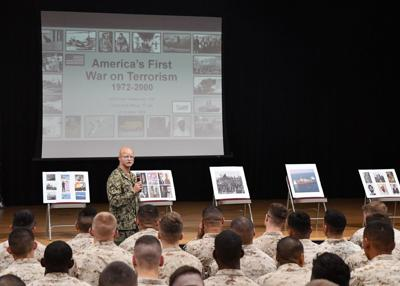 Historical lecture educates NSA Bahrain Team about history of the war on terrorism