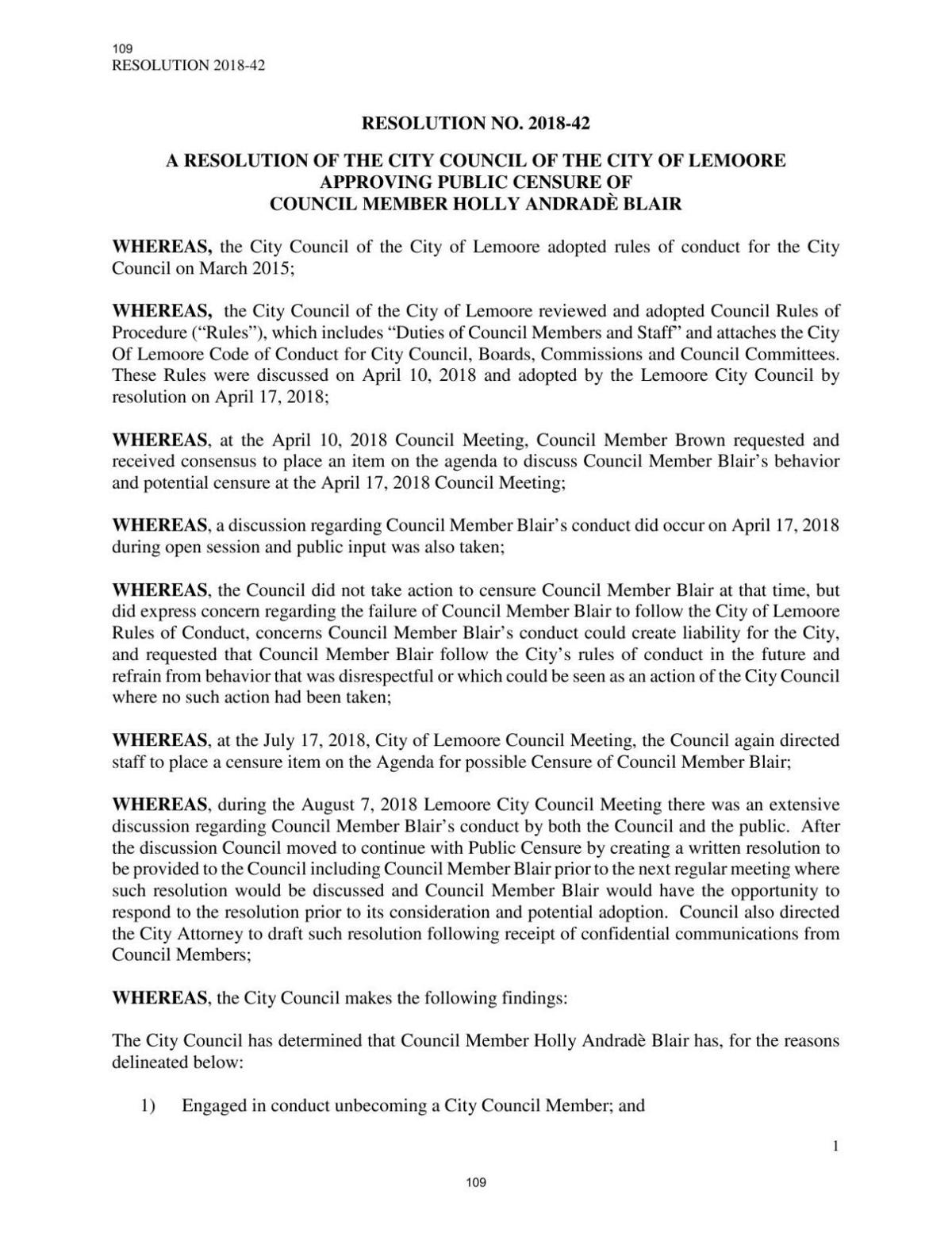Public Censure of Council Member Holly Andrade Blair