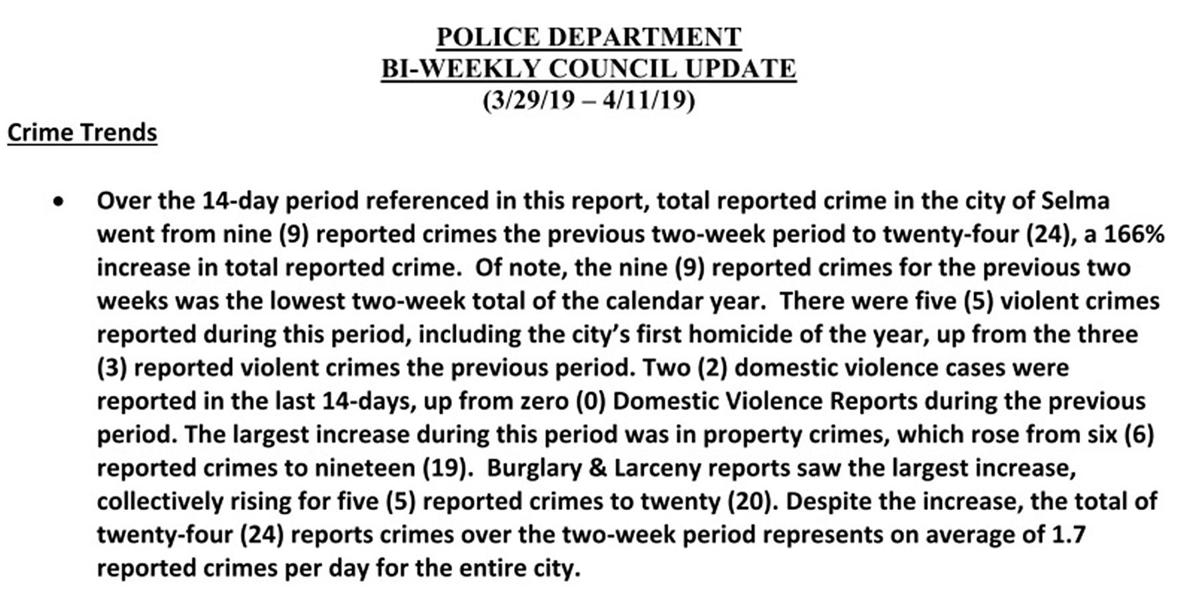 Police: Department report1