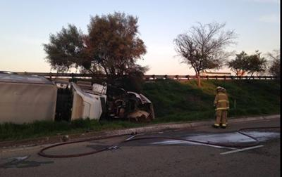 A Big Rig Overturned At Highway 99 And Sierra Street In Kingsburg On Tuesday