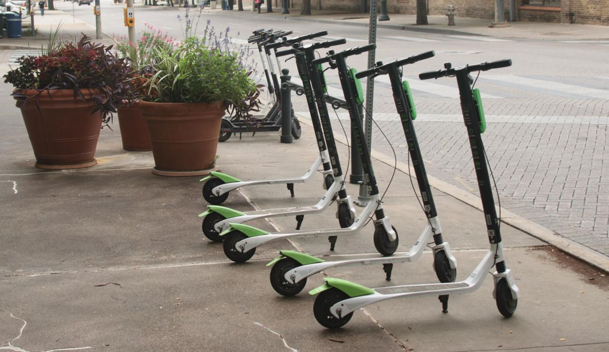 Dockless Electric Scooters on the Sidewalk