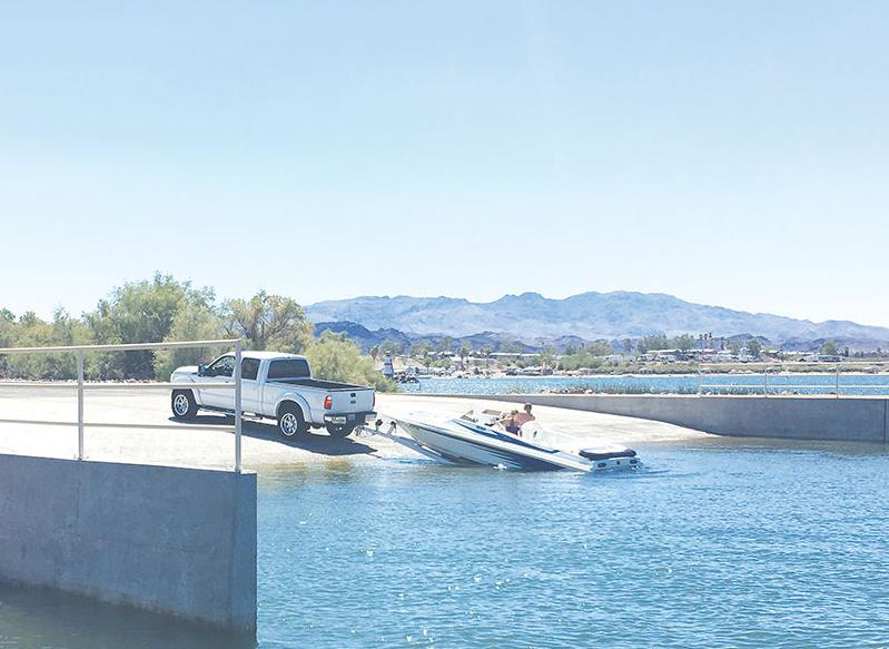 A Boater Launches Into Lake Havasu At State Park Where New Seven Lane Launch Ramp Opened On Friday