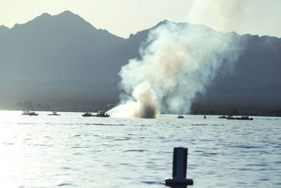 Fire boat extinguishes flames