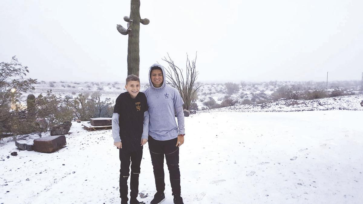 Snow falls around Havasu