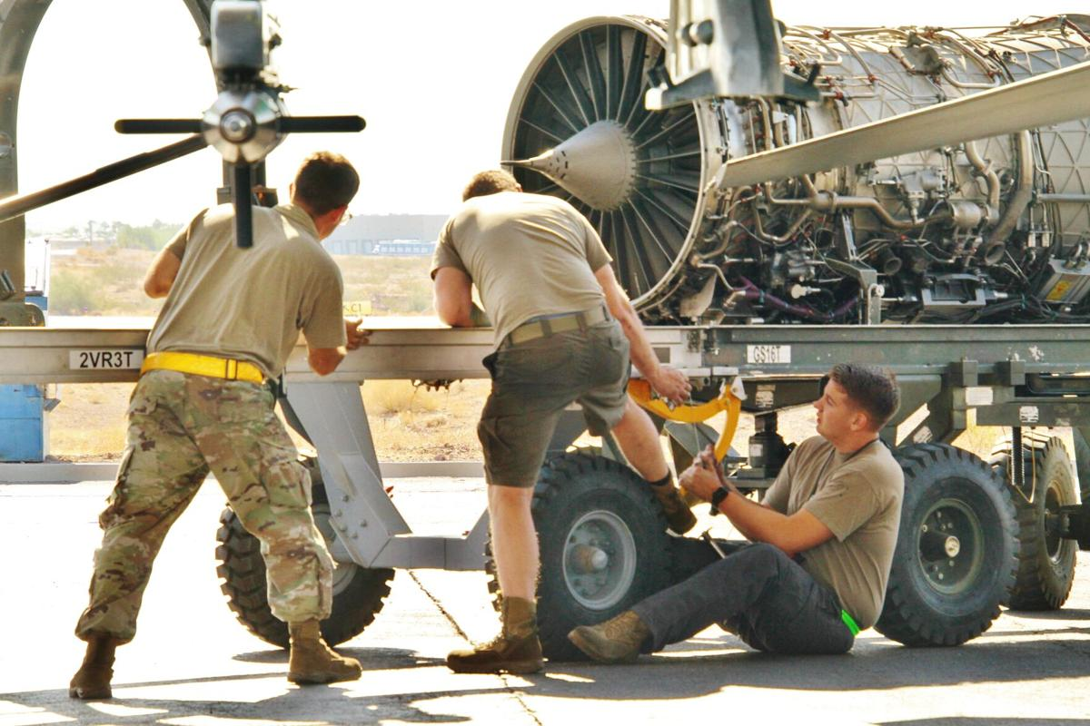 Removing engine from F-16