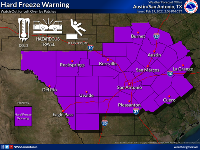 Hard freeze warning in effect through Saturday morning