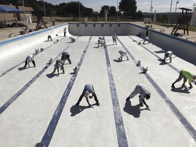 Olympic Pool being replastered
