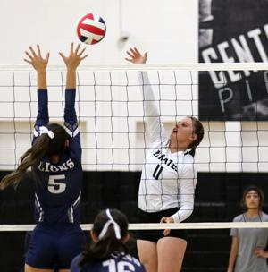<p>Center Point's Lexi Mills finished with six kills Tuesday night against Great Hearts at Pirate Gym.</p>
