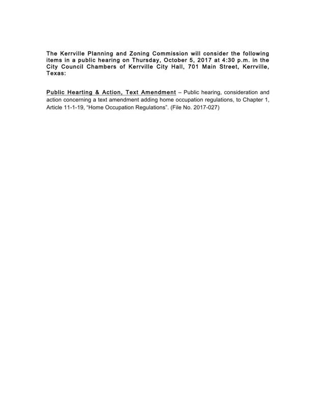 City of Kerrville - Public Hearing Notice