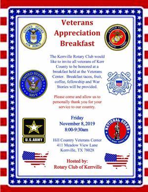 Rotarians plan Nov. 8 'Veterans  Breakfast'