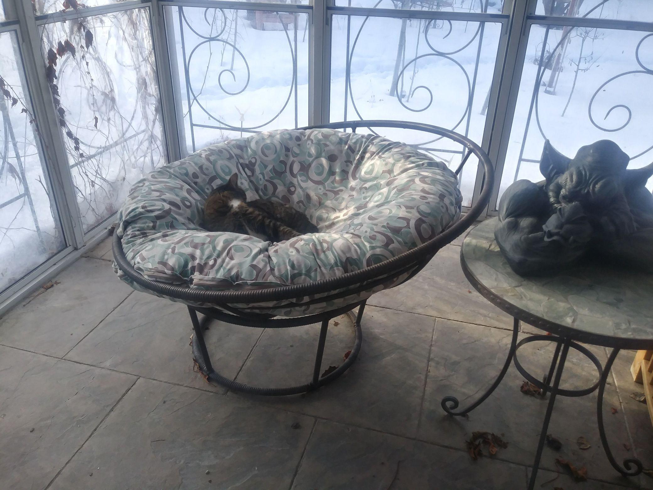 Brown rattan papasun bowl chair and cushion image 1