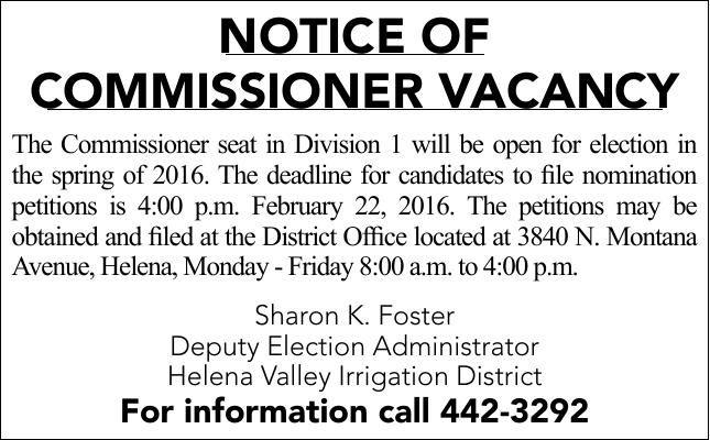 Notice of Commissioner Vacancy