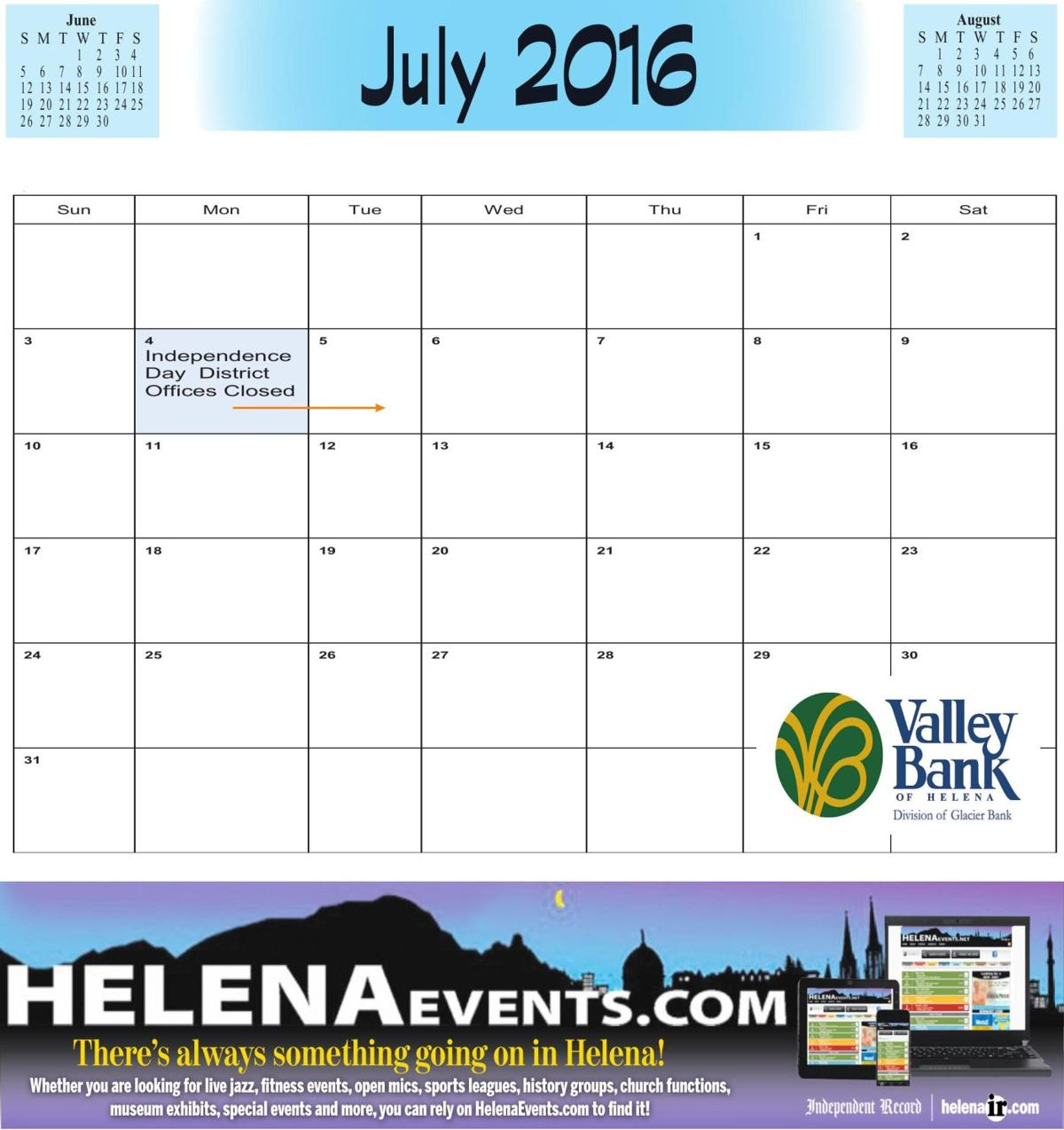 July School Calendar