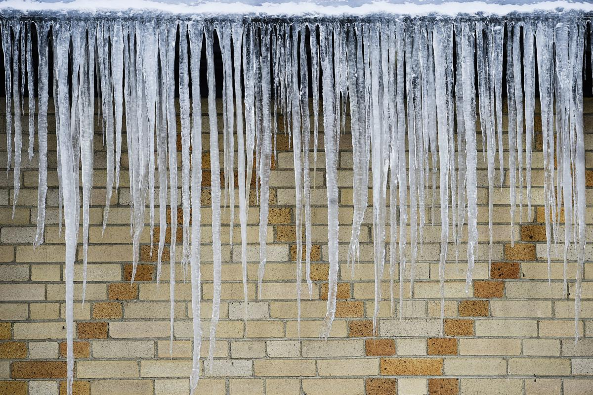 Large icicles hang from the roof of the Civic Center Monday afternoon.