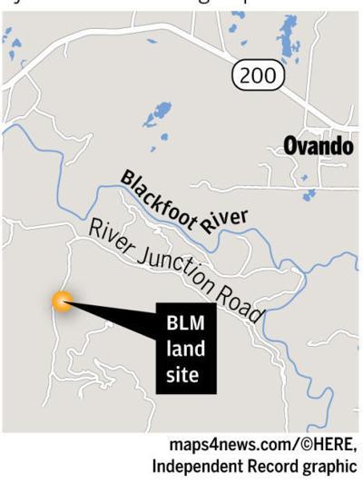 Map of BLM land site near Ovando
