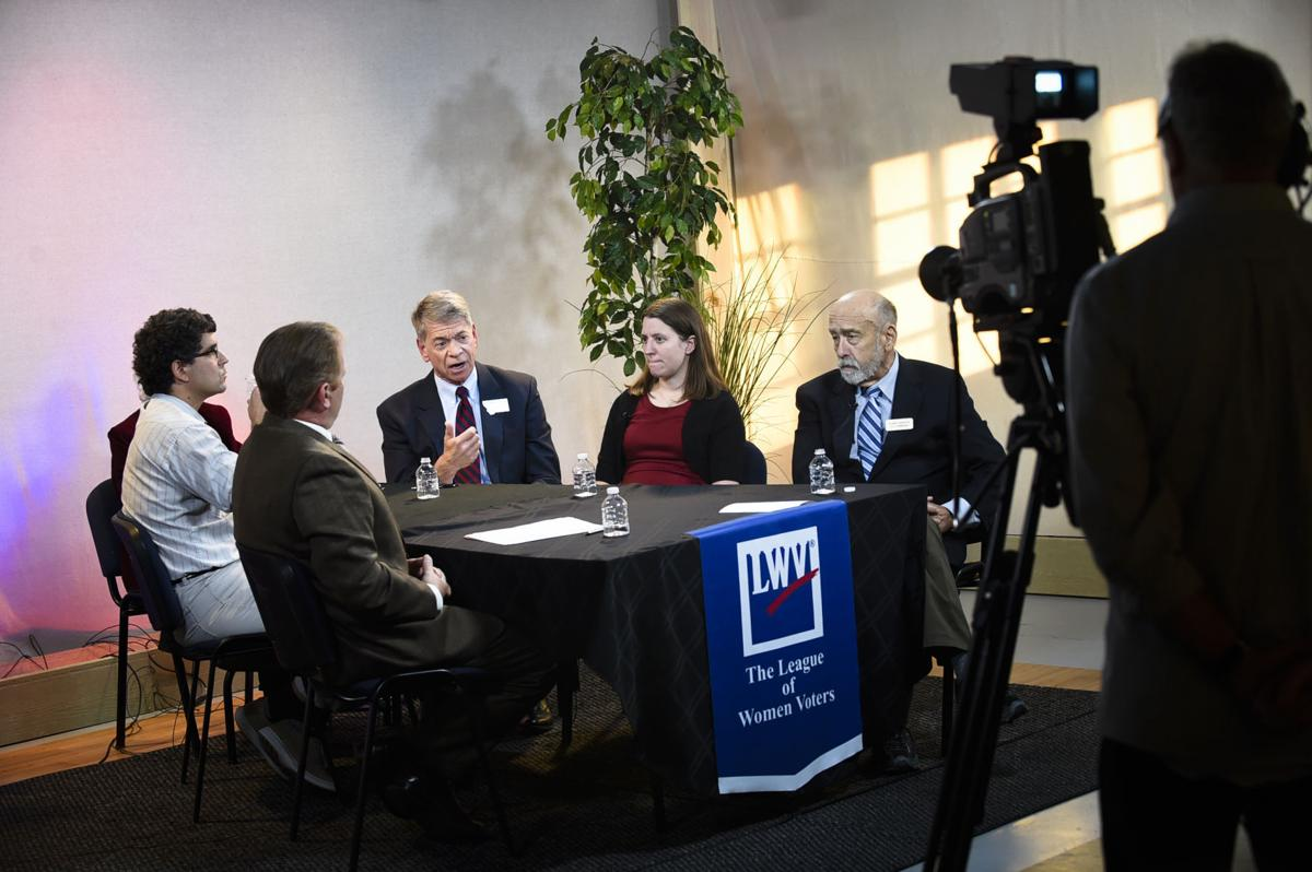 All the Helena City Commission candidates, except Justin Ailport, answer questions Monday afternoon during a candidiate forum facilitated by the League of Women Voters at the Helena Civic Television studio.