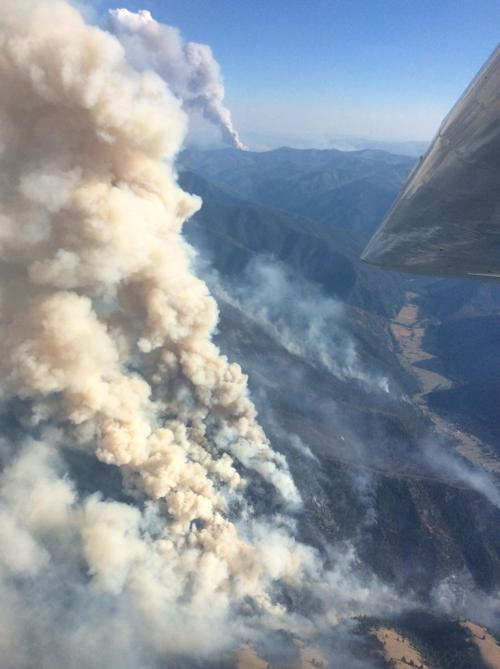 An aerial photo of the Goat Creek fire.