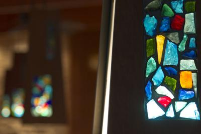 stained glass window church religion christian