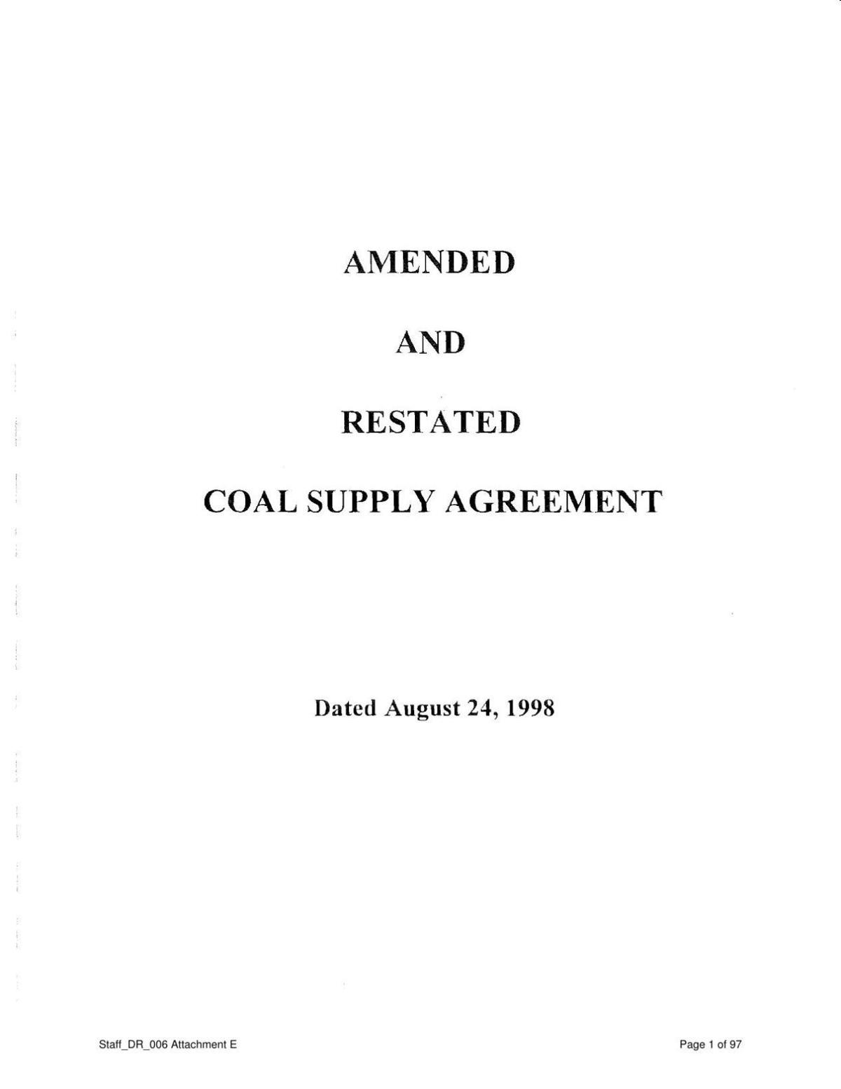 1998 coal contract for Colstrip Power Plant