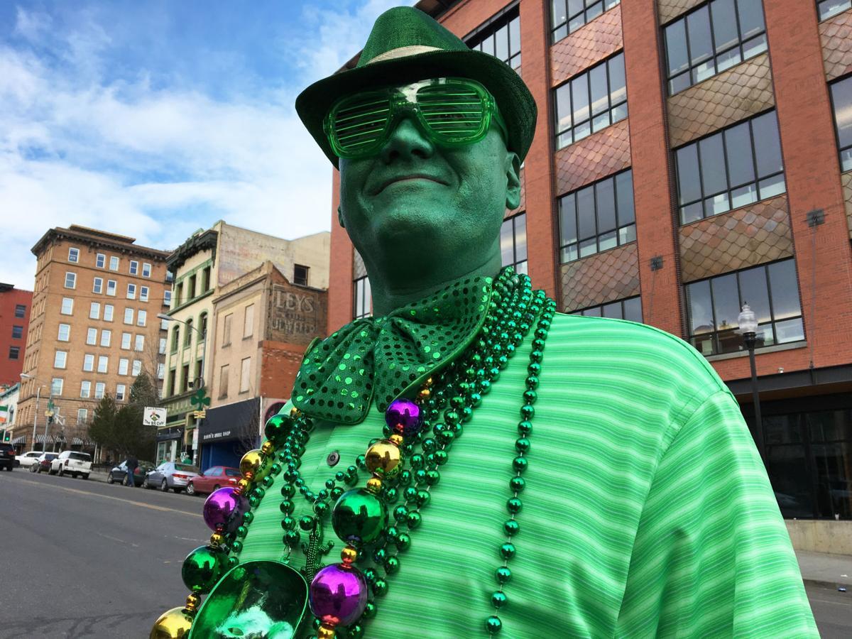 Green faced man
