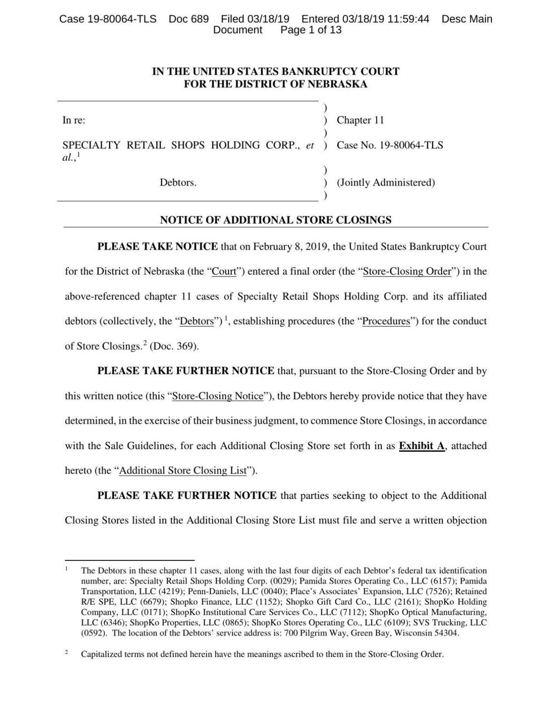 Shopko bankruptcy court document