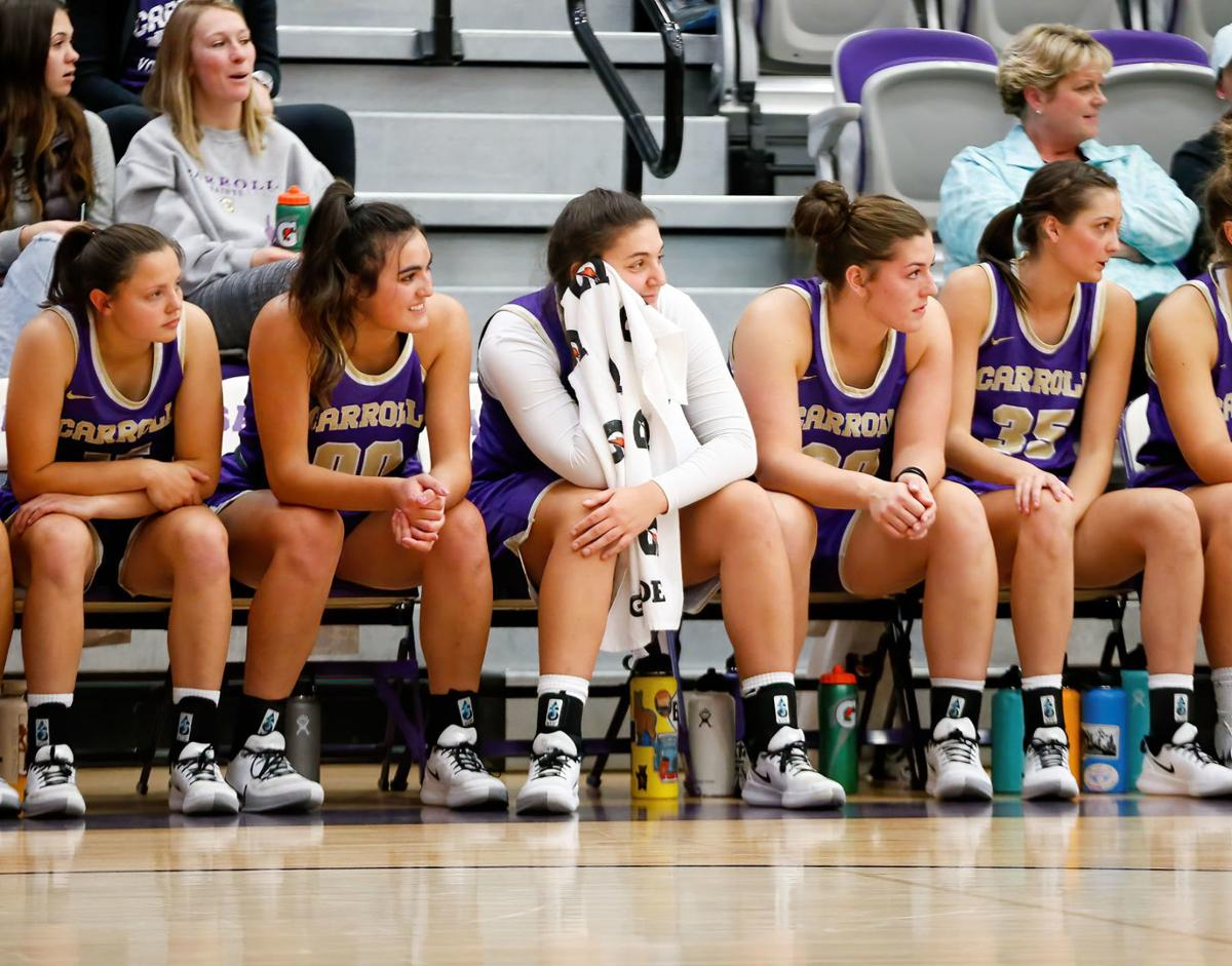 Carroll women's basketball bench photo