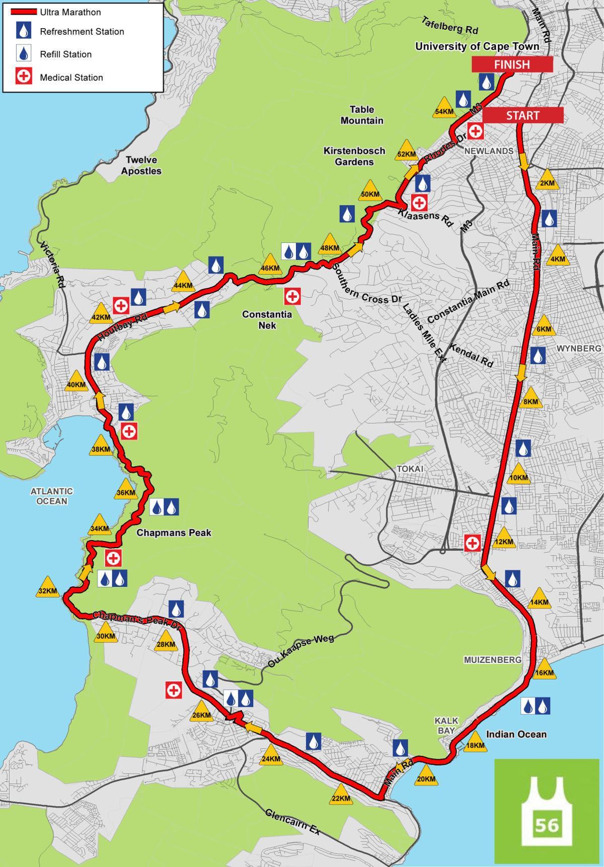 Two Oceans Ultra Marathon Course