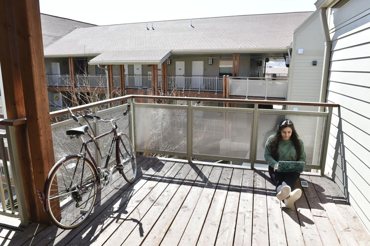 Carroll College senior Krysten Abboud joins a video conference from the deck of her campus apartment