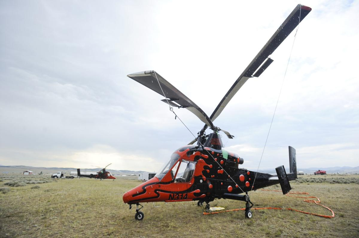 Central Copters Inc. from Belgrade has two K-Max helicopters on the local fires.