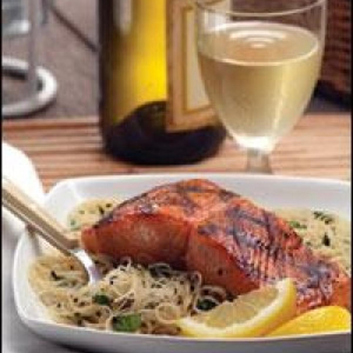 Honey-soy grilled salmon with cilantro noodles | Food