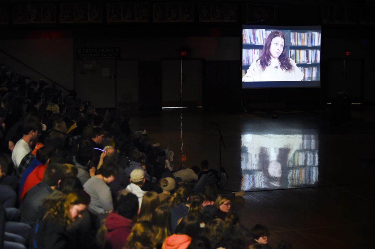"Helena High School students watch ""Chasing the Dragon: Life of an Opiate Addict"" Wednesday."