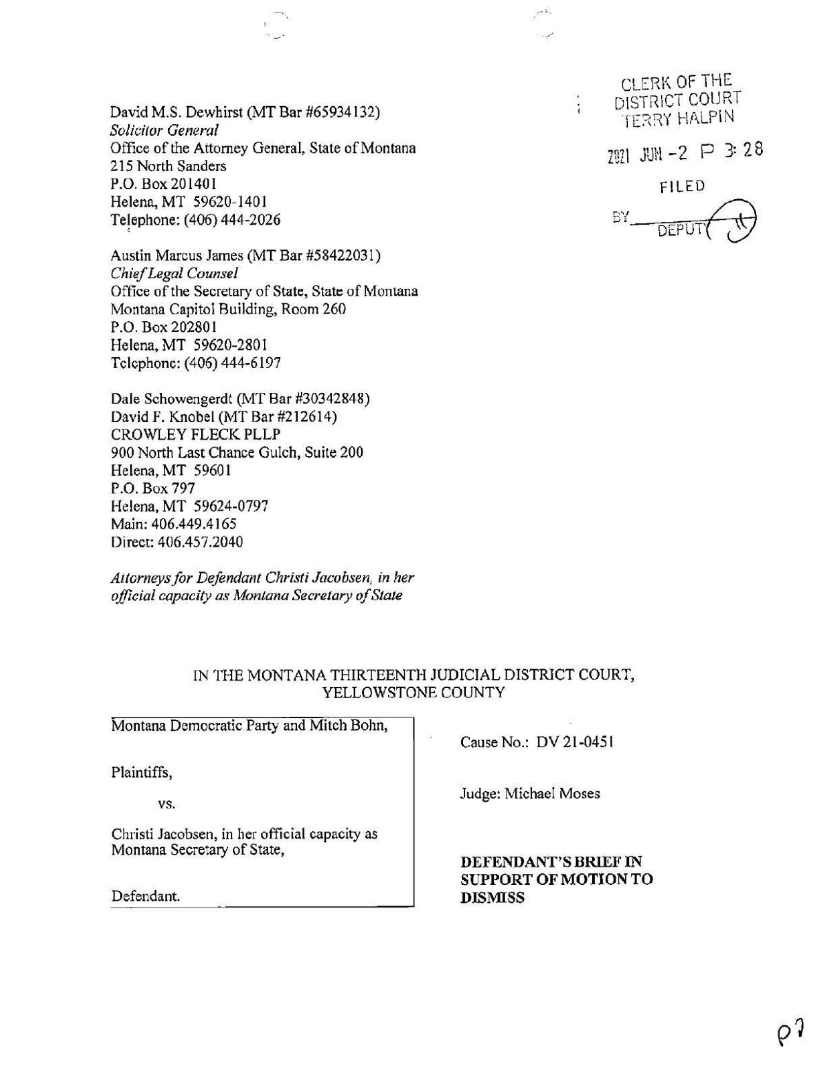 Brief in support of motion to dismiss