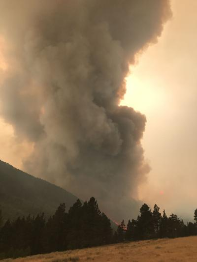 Smoke column from the Alice Creek fire on Aug. 27.