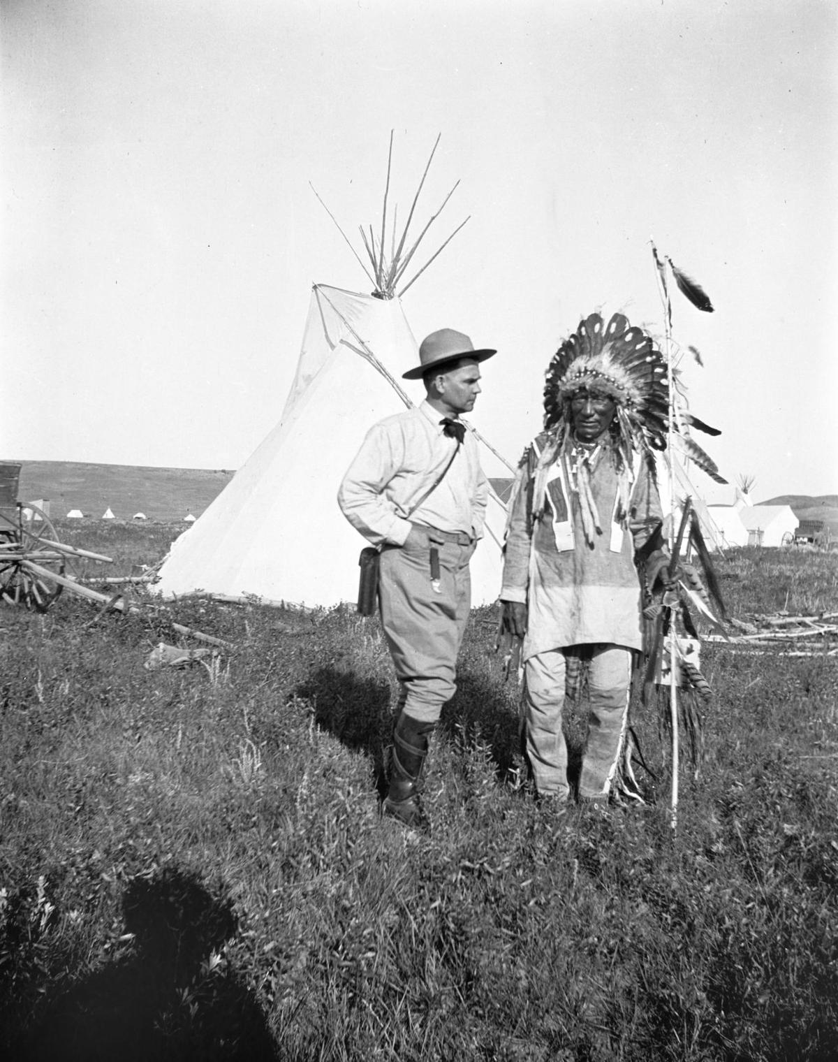 Joe Scheurele with Native American man