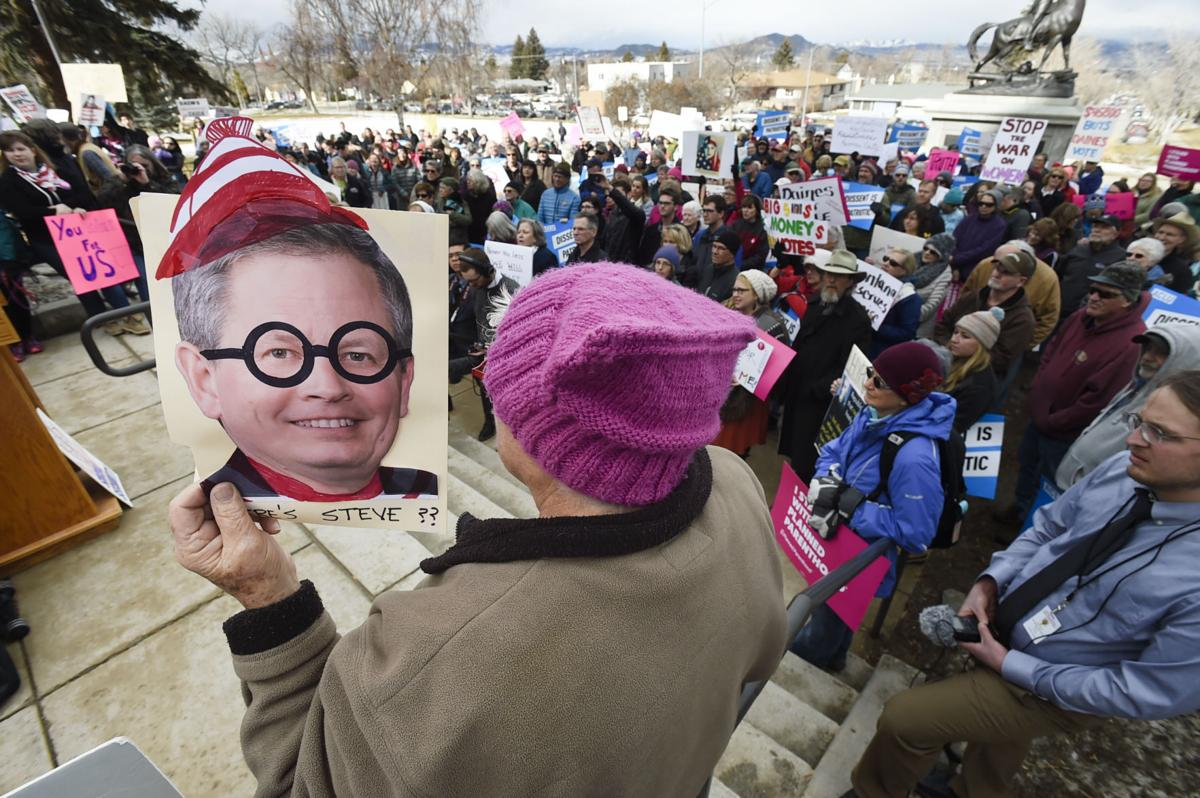 "Hundreds of protesters gather to ""Bring the Town Hall to Steve Daines"""