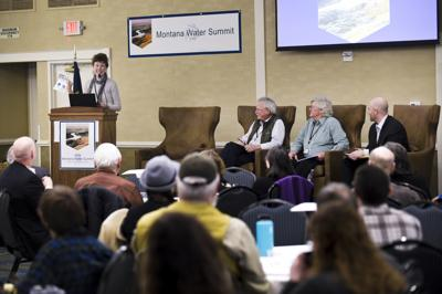 Former state legislator Dorothy Bradley, left, speaks on a panel Thursday along side Steve Doherty, Lorents Grosfield, Chas Vincent during the first ever Montana Water summit in Helena.