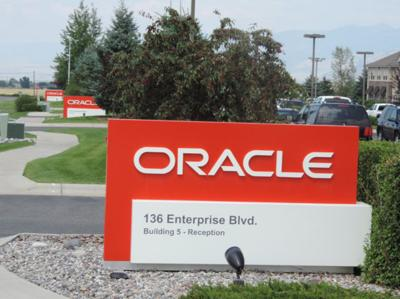Daines story - Oracle Corp. sign in Bozeman