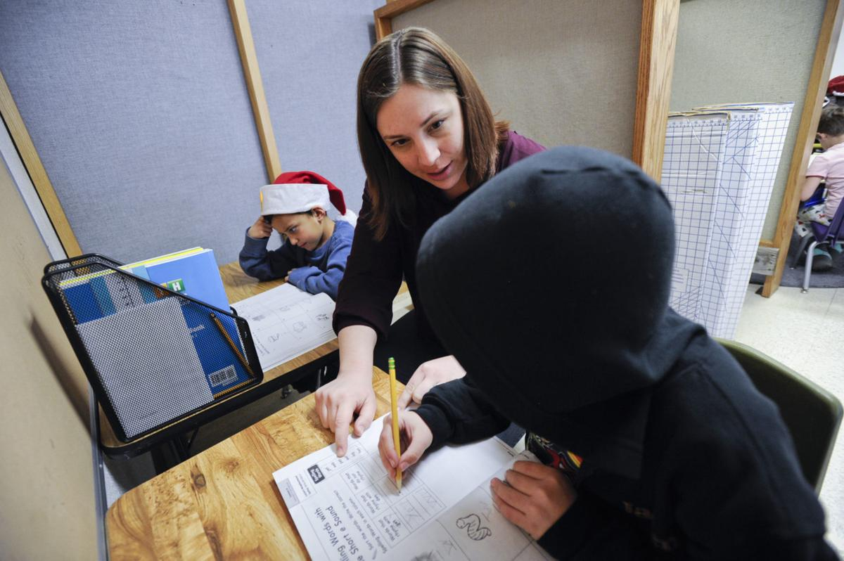 Miranda Parisi, Trailhead teacher, works with students