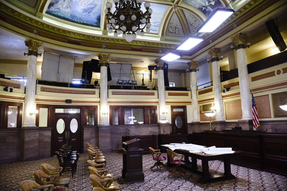 """The Old Supreme Court Chamber of the State Capitol is used as a scene in the Kevin Costner TV series """"Yellowstone"""" Thursday being filmed in Montana and Utah."""
