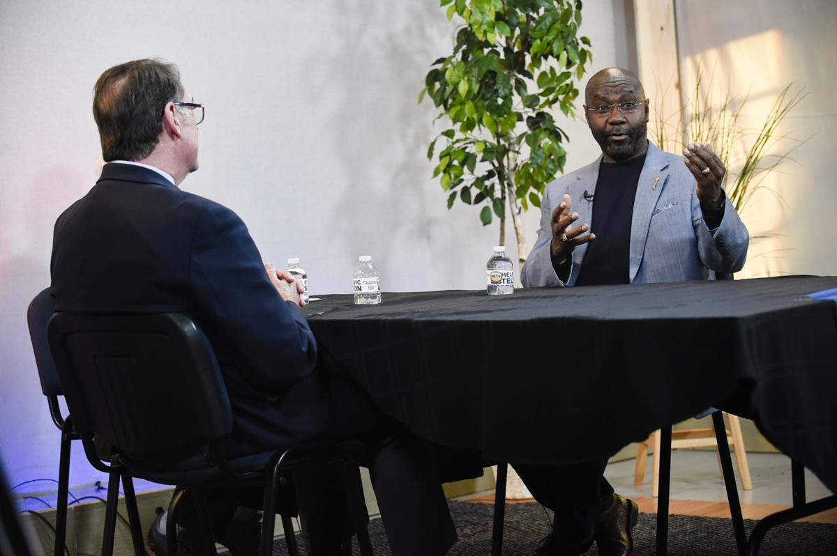 Mayoral candidates Jim Smith, left, and Wilmot Collins answer questions Thursday afternoon during a forum facilitated by the Helena Area League of Women Voters at the Helena Civic Television Studio.
