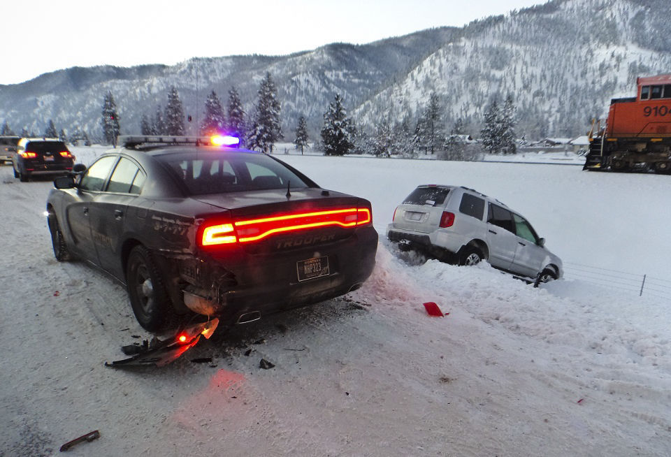 Trooper Wes Whitlatch was parked on the shoulder of the highway