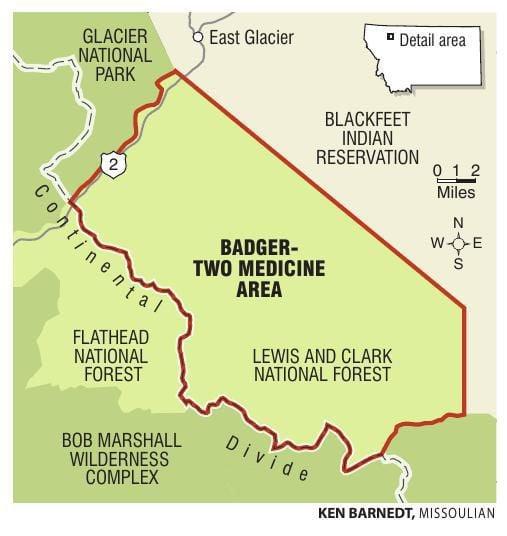 BadgerTwo Medicine Area map helenaircom